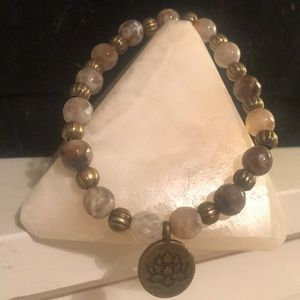 Fire Agate Bronze Lotus Healing Crystal Bracelet